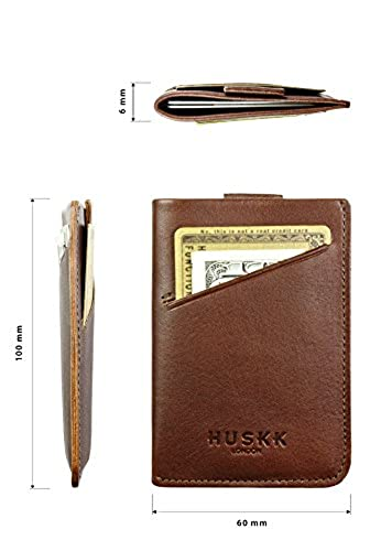 10. Slim Front Pocket Wallet for Men - Card Holder Up to 8 Cards & Cash - Italian Leather - HUSKK