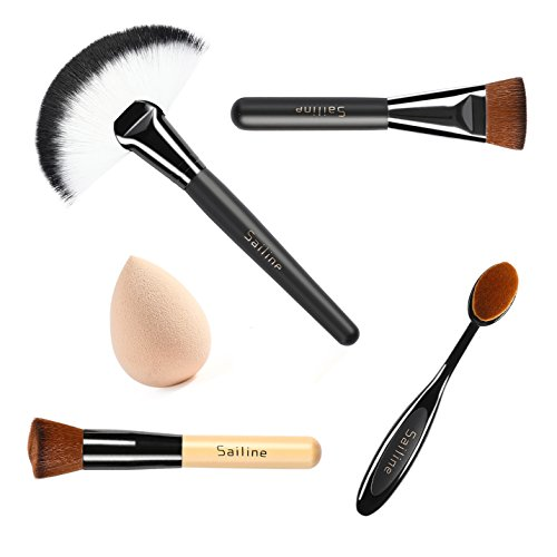 SAILINE 2018 NEW Foundation Cream Contour Powder Concealer Foundation Cosmetics Tool Makeup Brushes Toothbrush Mixing Sets, Multi Funtion Brush 4Pcs + Blender Beauty Sponge Egg