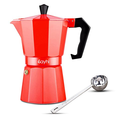 Espresso Maker, HOOHI 240 ML Aluminum Moka Express Stovetop Espresso Maker Pot Coffee Machine + 1 Coffee Scoop, 4 Cup (Red) (Keurig Cup Vending Machine compare prices)
