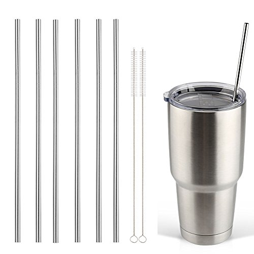 Accmor 18/8 Stainless Steel Straws, FDA-approved Reusable Metal Drinking Straight Straws Fits 20 & 30 Oz Yeti Tumbler Rambler Cups (Length:10.5 in, OD:0.24 in, Set of 6 & 2 Cleaning Brushes) (Stainless Steel Straws Onyx compare prices)