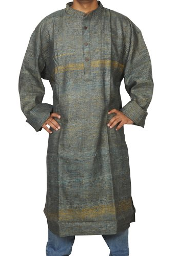 Hand Made Casual Wear Indian Striped Khadi Mens Long Kurta Fabric For Winter & Summers Size 8XL