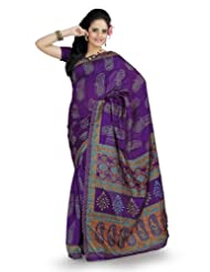 Designersareez Women Bhagalpuri Silk Printed Purple Saree With Unstitched Blouse(858)