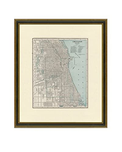 "Vintage Print Gallery Antique Map Of Chicago 1883-1903, Multi, 20.5"" x 17.5"""