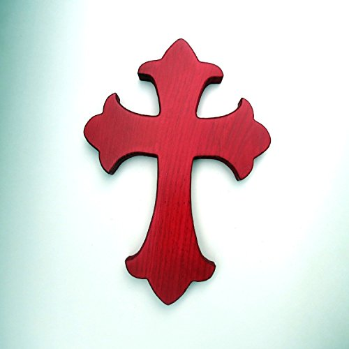 Wood fleur de lis wall hanging cross blood red