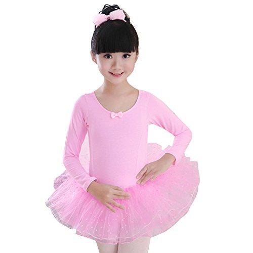 Highdas manica lunga colore rosa ragazze del pannello esterno di balletto vestito tutu autunno e l'inverno di prove uniformi delle prestazioni XXL
