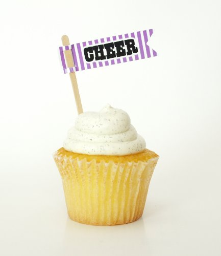 """Cheer"" Sweet Pick Cupcake Topper, Purple (Set Of 12) - For Cakes, Macaroons, Milkshakes, And Pie back-763240"