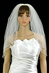 Bridal Wedding Veil White 2 Tiers Long Elbow Length With Rhinestone Edge