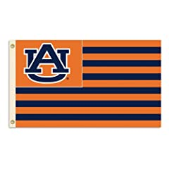 NCAA Auburn Tigers 3-by-5 Foot Flag A U with Stripes with Grommets by BSI