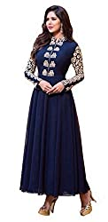 Clickedia Women's Georgette anarkali style gown Dress Material (Navy blue- Free Size)