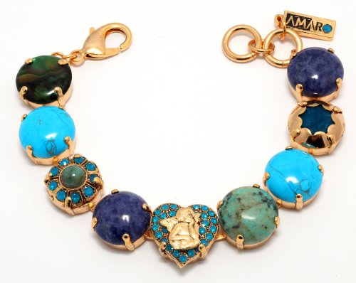 Amaro Jewelry Studio 'Inspiration' Collection Bracelet Set with Heart and Cherub Links, Turquoise, Lapis Lazuli, Abalone, Howlite, Swarovski Crystals; 24K Yellow Gold Plated