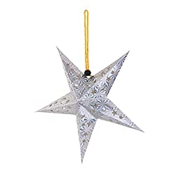 2017 Xmas String Hanging Star Christmas Decor Christmas Tree Ornament - silver, 90cm/ 35.43 inch