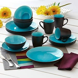 Over & Back Oslo 16 Piece Dinnerware Set, Blue