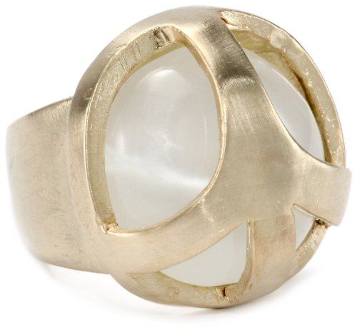 Low Luv by Erin Wasson Peace Cage Clear Cat Eye Stone Ring, Size 6