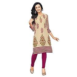 Stylish Girls Women Cotton Printed Unstitched Kurti Fabric (SND263_Red_Free Size)