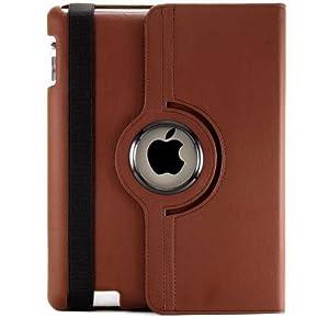 JAMMYLIZARD | 360 Grad rotierende Ledertasche Hülle für iPad 4, iPad 3 und iPad 2, BRAUN