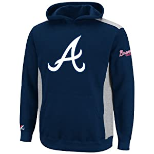 MLB Youth Atlanta Braves Lil Catcher Athletic Navy/Steel Heather Long Sleeve Hooded Fleece Pullover By Majestic (Athletic Navy/Steel Heather, Small)