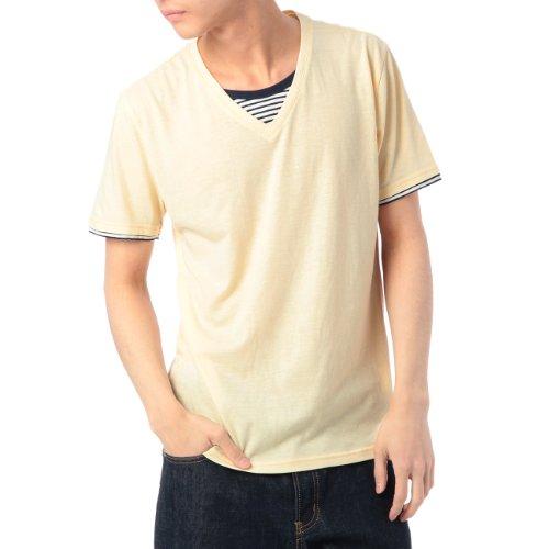 (ボイコット)BOYCOTT ボーダーフェイクレイヤードTシャツ イエロー系(031) 03(L)