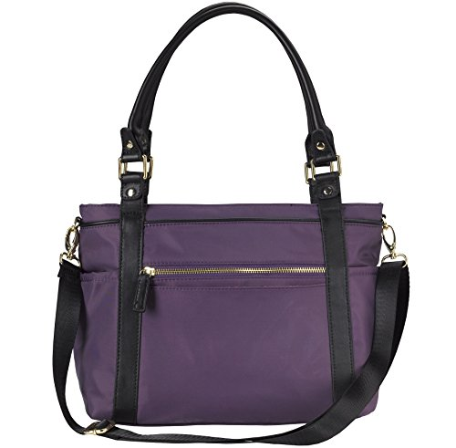 Portagio Smart Satchel - Nylon And Leather, Eggplant Organizer Handbag, Satchel Bag
