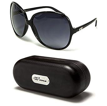 DG26 Style 1 DG Eyewear Fashion Vintage Oversized Women's Sunglasses (Black w Case, Black)