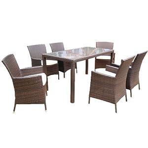 Terrassenmöbel polyrattan braun  Ambientehome 63996 7-teilige Sitzgruppe Essgruppe Lubango ...