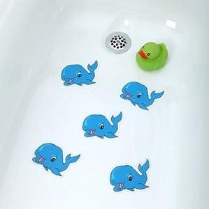 bathtub stickers blue whale safety decals treads non slip anti skid shower. Black Bedroom Furniture Sets. Home Design Ideas