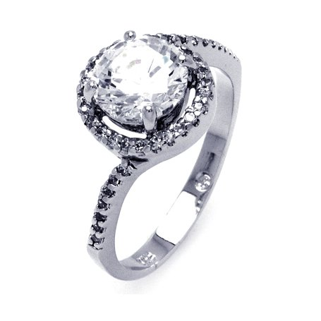 Precious Twist Design Top Quality Round Shape Cubic Zirconias Engagement Ring, Includes Gift Box and Pouch. (7)