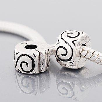 Andante-Stones 925 Silber Bead Clip Stopper mit Wirbeln Gravur Element Kugel für European Beads + Organzasäckchen