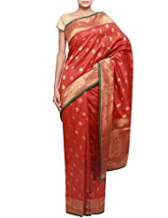 Kalki Fashion Rust Banarasi Saree With Floral Motif Border Only On Kalki