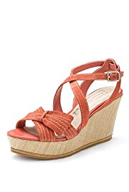 Autograph Suede Water Resistant Half Bow Wedge Sandals with Insolia