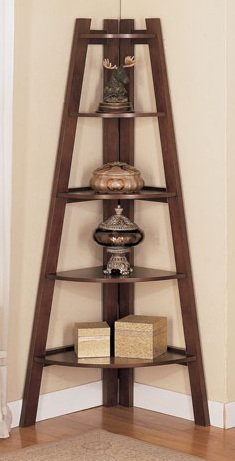 Beautiful Corner Shelf in Walnut Finish PDS F40038