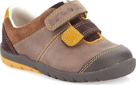 Toddler Boy's Clarks 'Softly Seb' Leather Sneaker Brown Leat