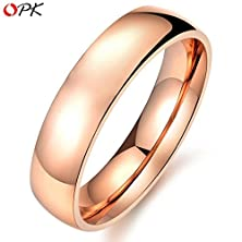 buy Box Packing! Fashion Simple Style Unisex Stainless Steel Ring Rose Gold Plated High Polish Bright Cool Style, 424