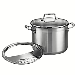 Tramontina 3-pc. Pasta Cooker with Lock and Drain Strainer.