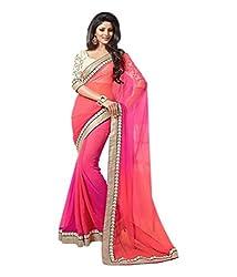 S4S Self Design Chanderi Georgette Sari (Pink)