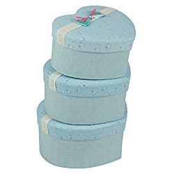 A Very Elegant & Durable Set of 3 Cardboard and Fabric Hard Boxes Sweet Heart Green