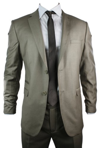Mens Light Brown Slim Fit Suit 2 Button Italian Style Office Party Wedding Suit UK