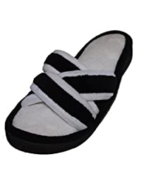 Isotoner Cabanas Women's Slippers Microterry Strappy Slip On Lynn Black