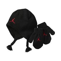 Nike Air Jordan Toddler Boys Hat Beanie Mittens Gloves Black Set 2t/4t