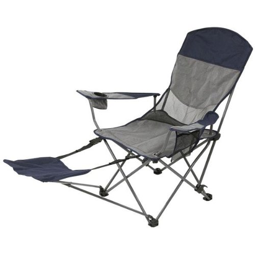 Stansport Apex Deluxe Arm Chair with Foot Rest (Navy/Gray)