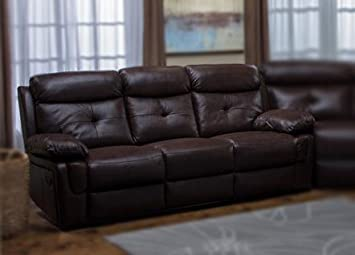 Sonya Dual Reclining Brown Leather Sofa