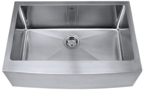 Buy Discount Kraus 30 inch Farmhouse Apron Single Bowl 16 gauge Stainless Steel Kitchen Sink