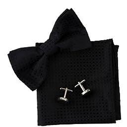 Black Checkered Silk Pre-tied Bowtie, Cufflinks, Hanky Present Box Set Black gift for a man Pointe BT2036 One Size Black