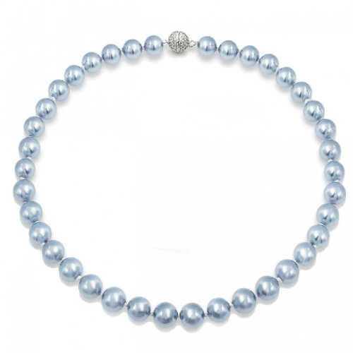 Bling Jewelry Round South Sea Shell Light Blue Pearl Necklace 12mm