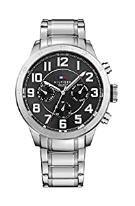 Tommy Hilfiger Trent Men's Quartz Watch with Black Dial Analogue Display and Silver Stainless Steel Bracelet 1791054