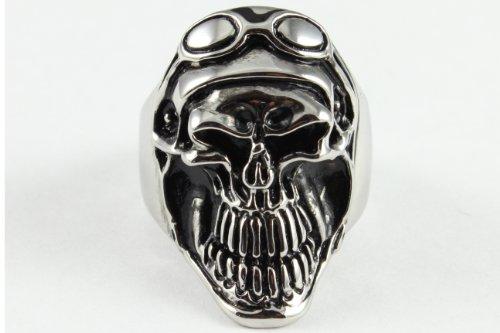 Stainless Steel Casting Skull Aviator Design Ring - Size 10