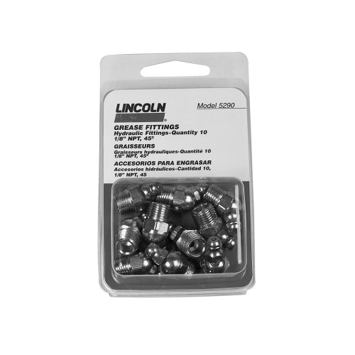 Lincoln Lubrication 5290 1/8″ Pipe Thread FTG 45 Angle Grease Fitting, (Card of 10) image