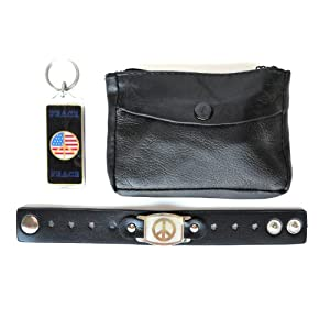 Peace Leather Cuff Band Bracelet Wristband Gift Set with Peace Keyring & Change Pouch