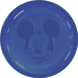 Disney Mickey Plastic Plates Embossed Large, Blue