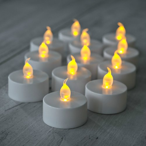 Domire 24 Pcs Flickering Led Battery Operated Tea Lights Flameless Candles For Halloween Church Votive Wedding Festival Decorations Ceremony Restaurant Table Candle Light
