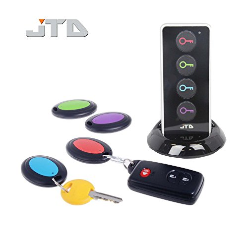JTD  Wireless RF Item Locator/Key Finder with LED flashlight and base support. With 4 Receivers Key Finder-Wireless key RF locator, Remote Control, Pet, Cell, Wireless RF Remote Item, Wallet Locator. (4 Receivers) (Iphone Key Locator compare prices)